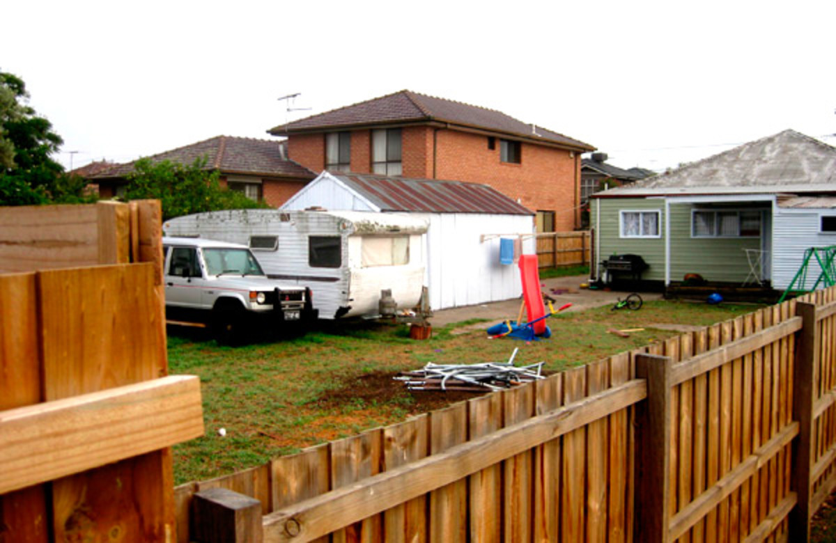View of a bogan backyard.