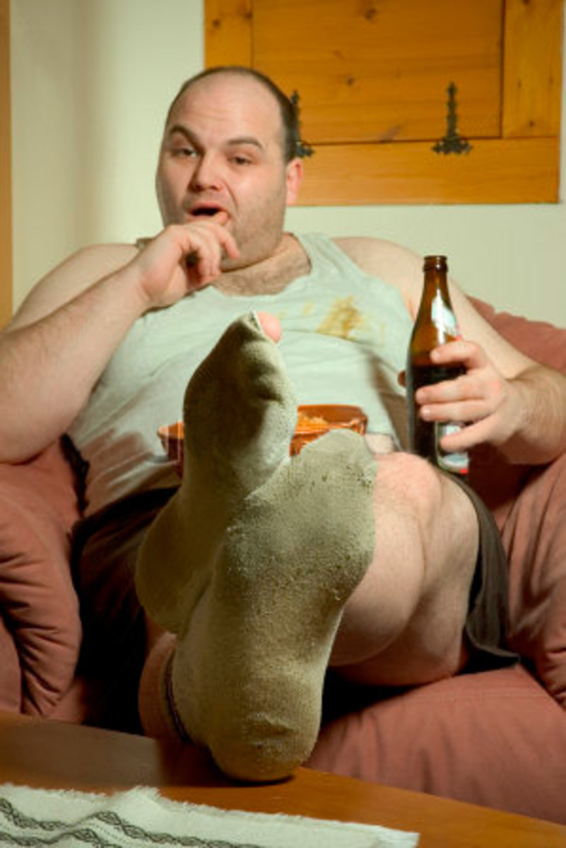 Another bogan relaxes after a hard day's drinking.