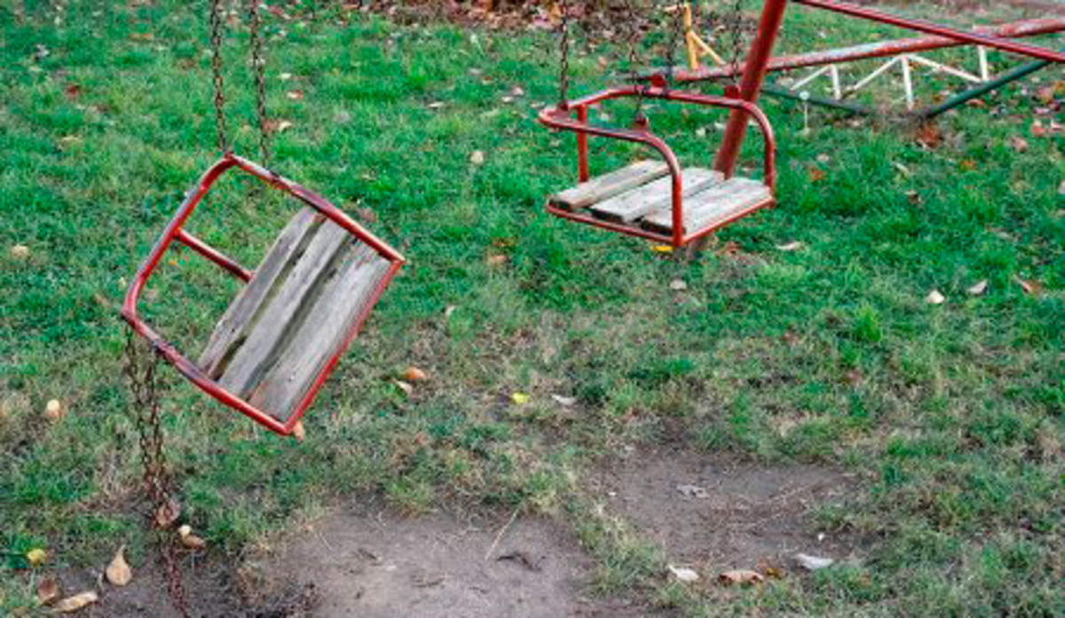 An example of old, broken play equipment.