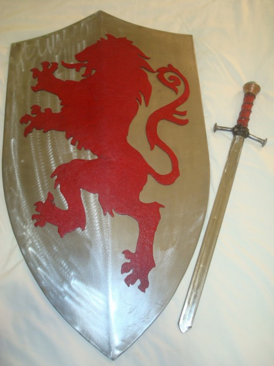 Metal sword and shield