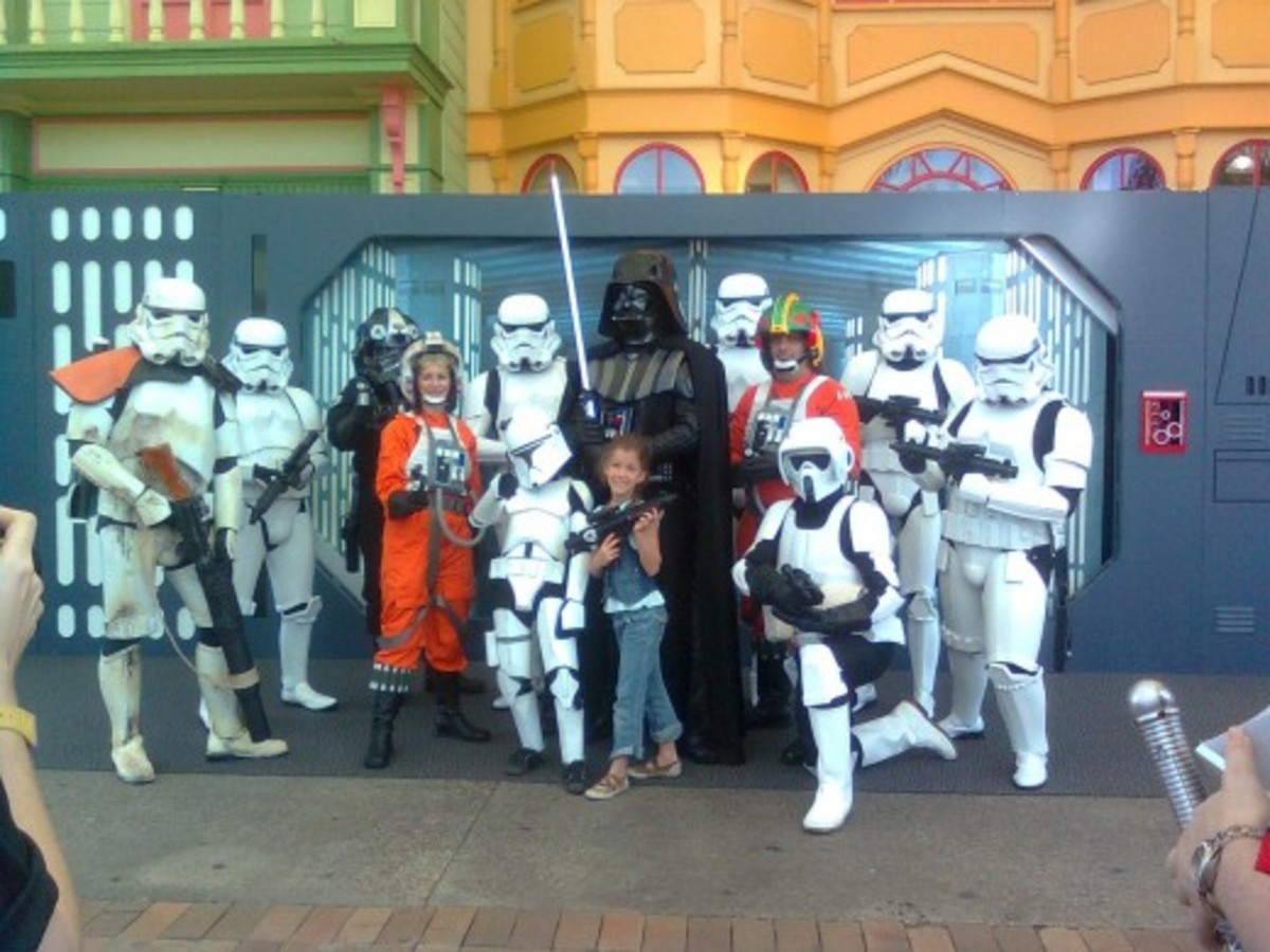 One of the local theme parks had a Stars wars Week. We called and asked if my son could dress up and join the action. He loved it. PS: He's the short clone trooper.