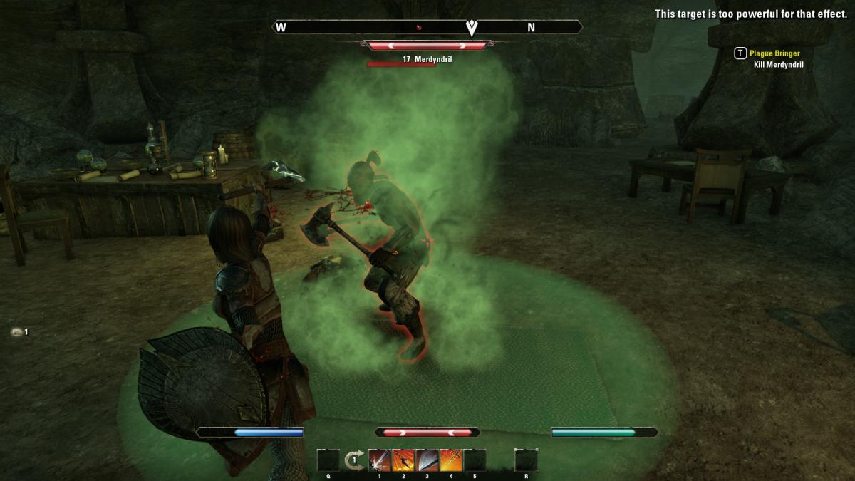 Battling Merdyndril, the vicious, axe-wielding final boss of the Plague Bringer quest in The Elder Scrolls Online.