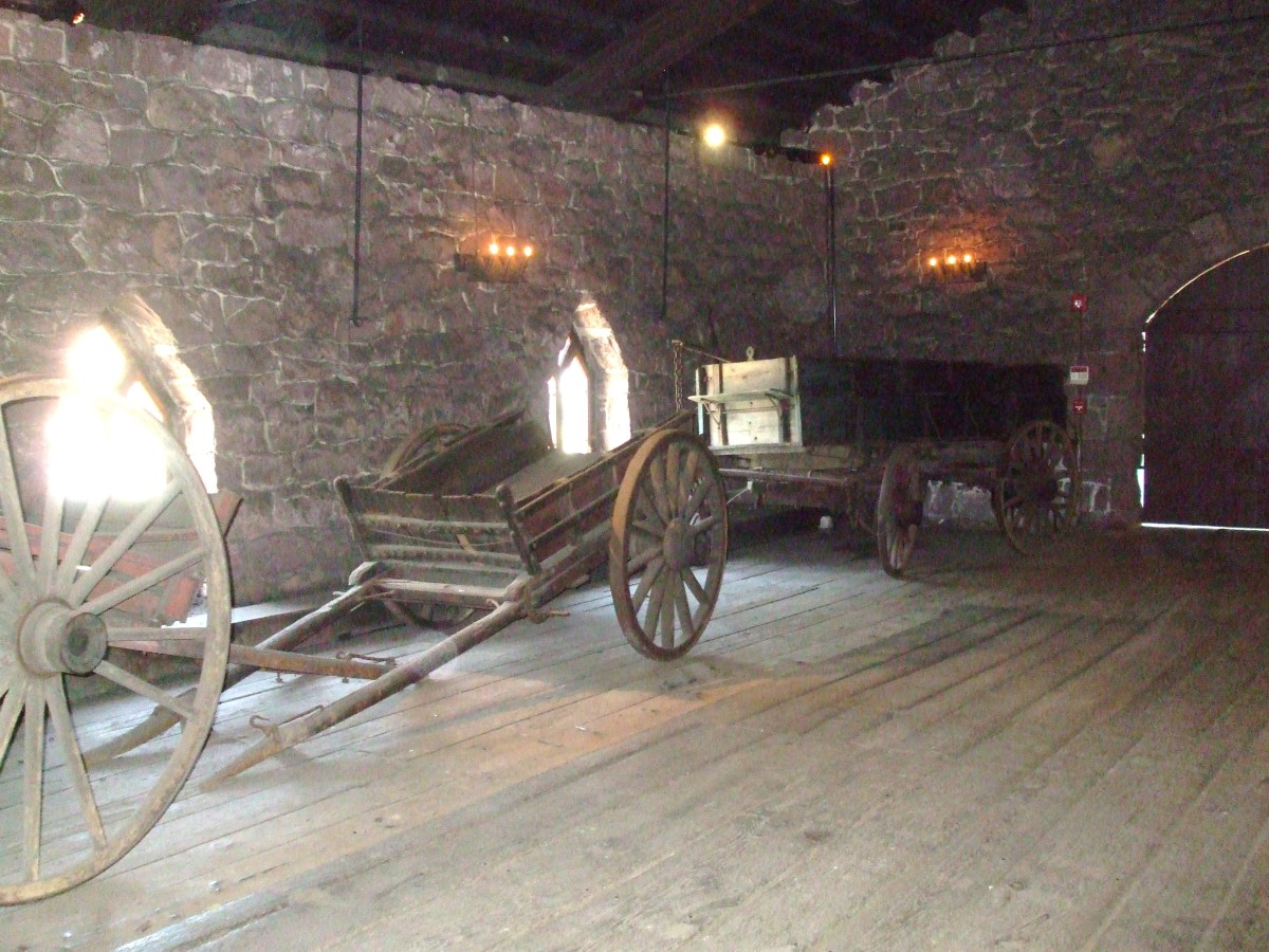 The area for bringing ores, limestone and charcoal to the top of the furnace at Cornwall.