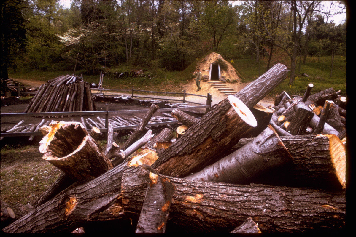 Wood from an acre of forestland is needed every single day to make the charcoal for a charcoal blast furnace.