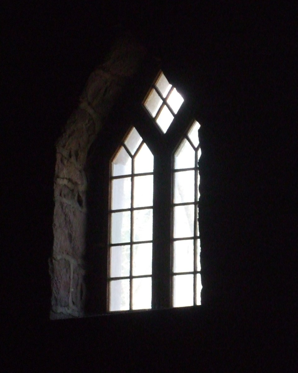 Closer view of an extravagant leaded window in the furnace building at Cornwall.