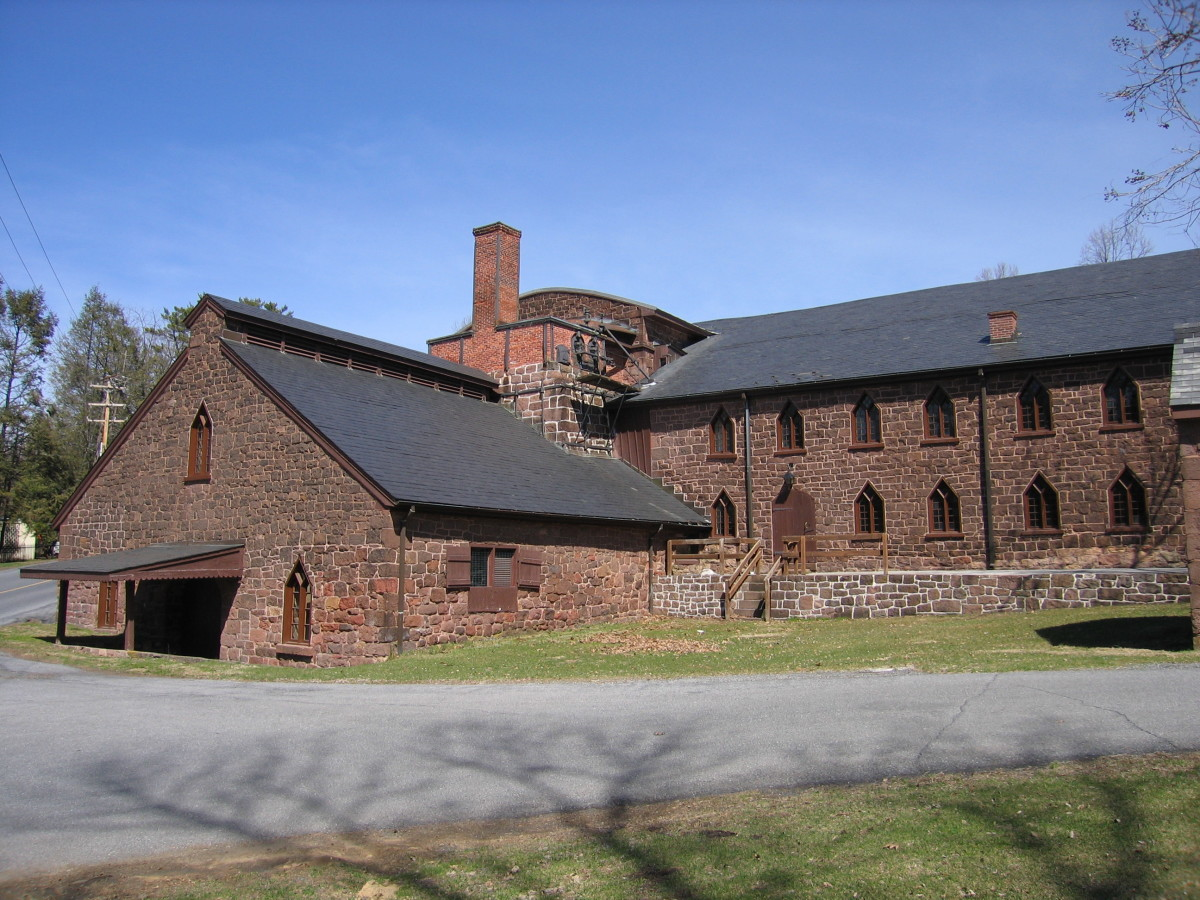 The exterior of the Cornwall iron furnace building.