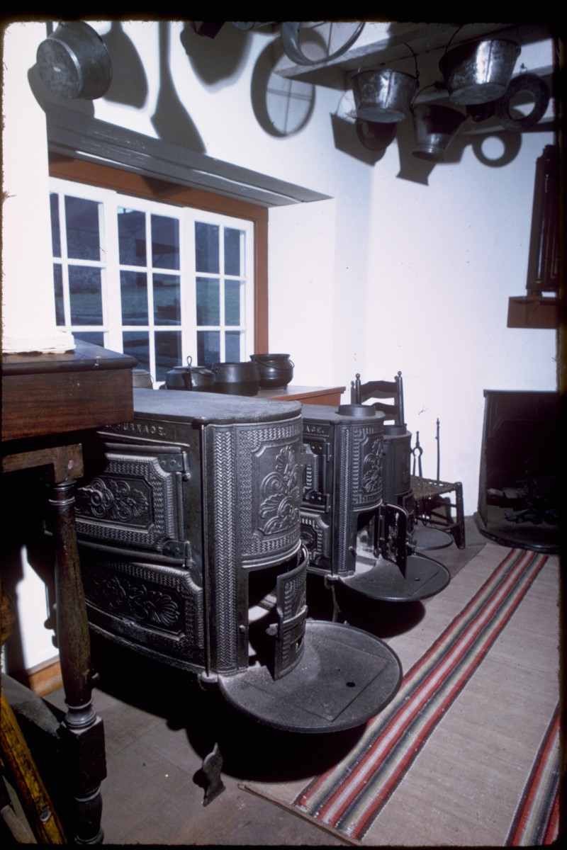 Finished cast iron stoves are displayed in the Hopewell Furnace Visitors Center.