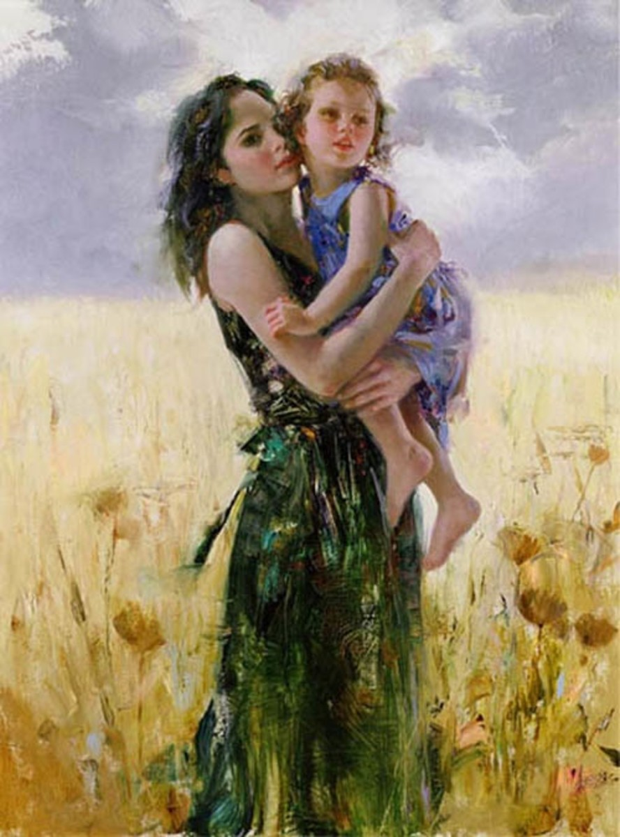 Picture of Mother Carrying Daughter in Field of Flowers