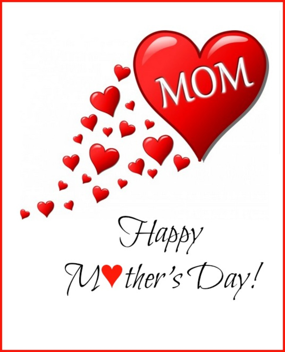 Mother's Day Card with Red Hearts