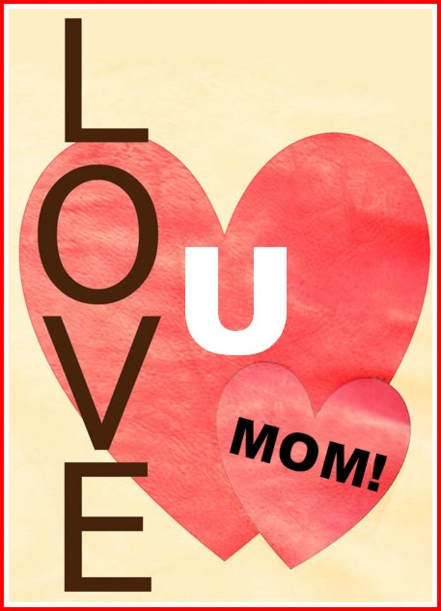'Love U Mom' with Red Hearts on Card
