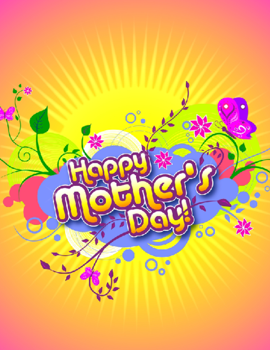 Mother's Day Card in Orange, Yellow, Purple and Pink