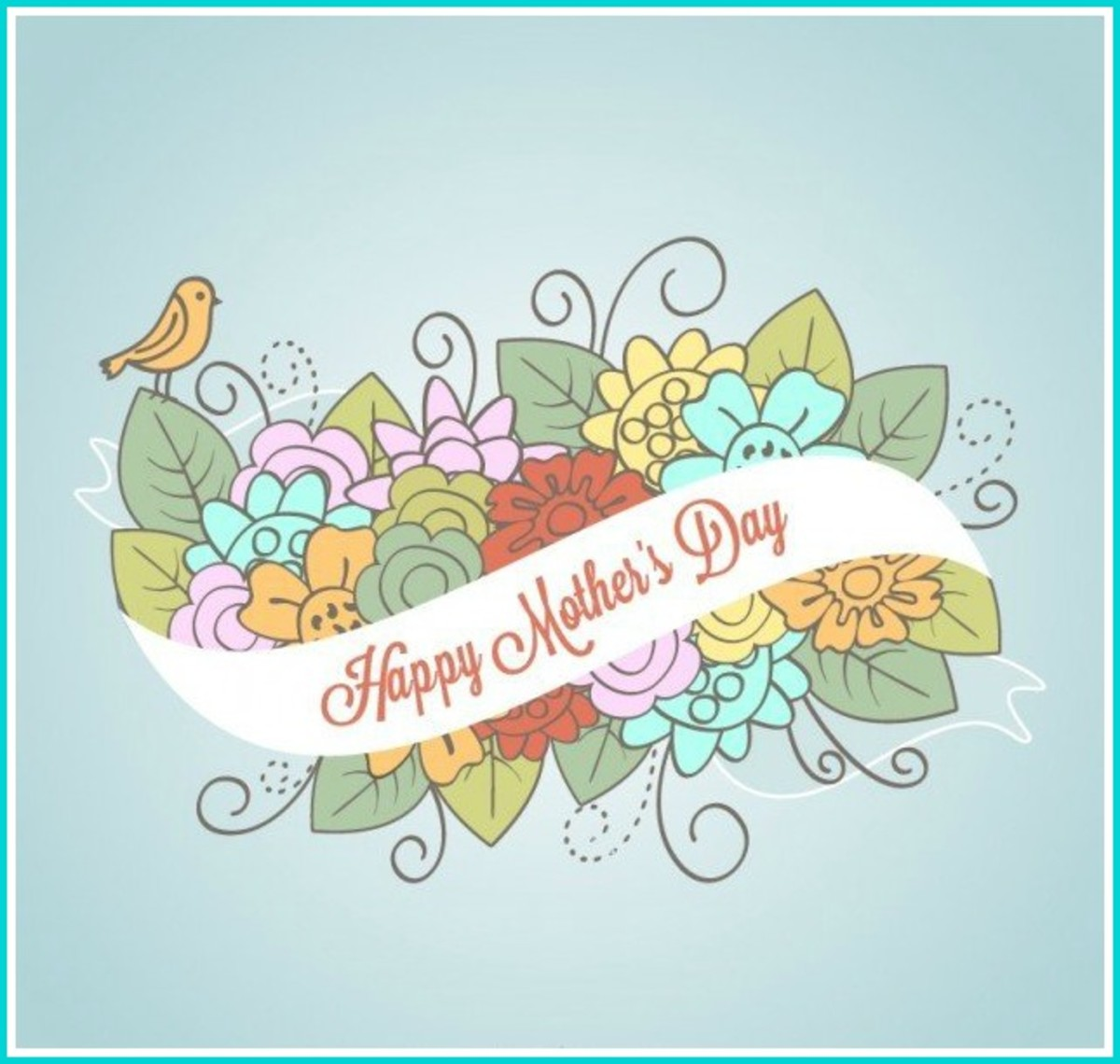 Mother's Day Banner with Flowers and Bird