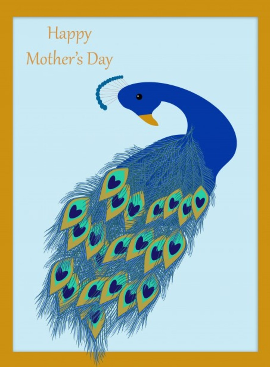 Peacock on Happy Mother's Day Card