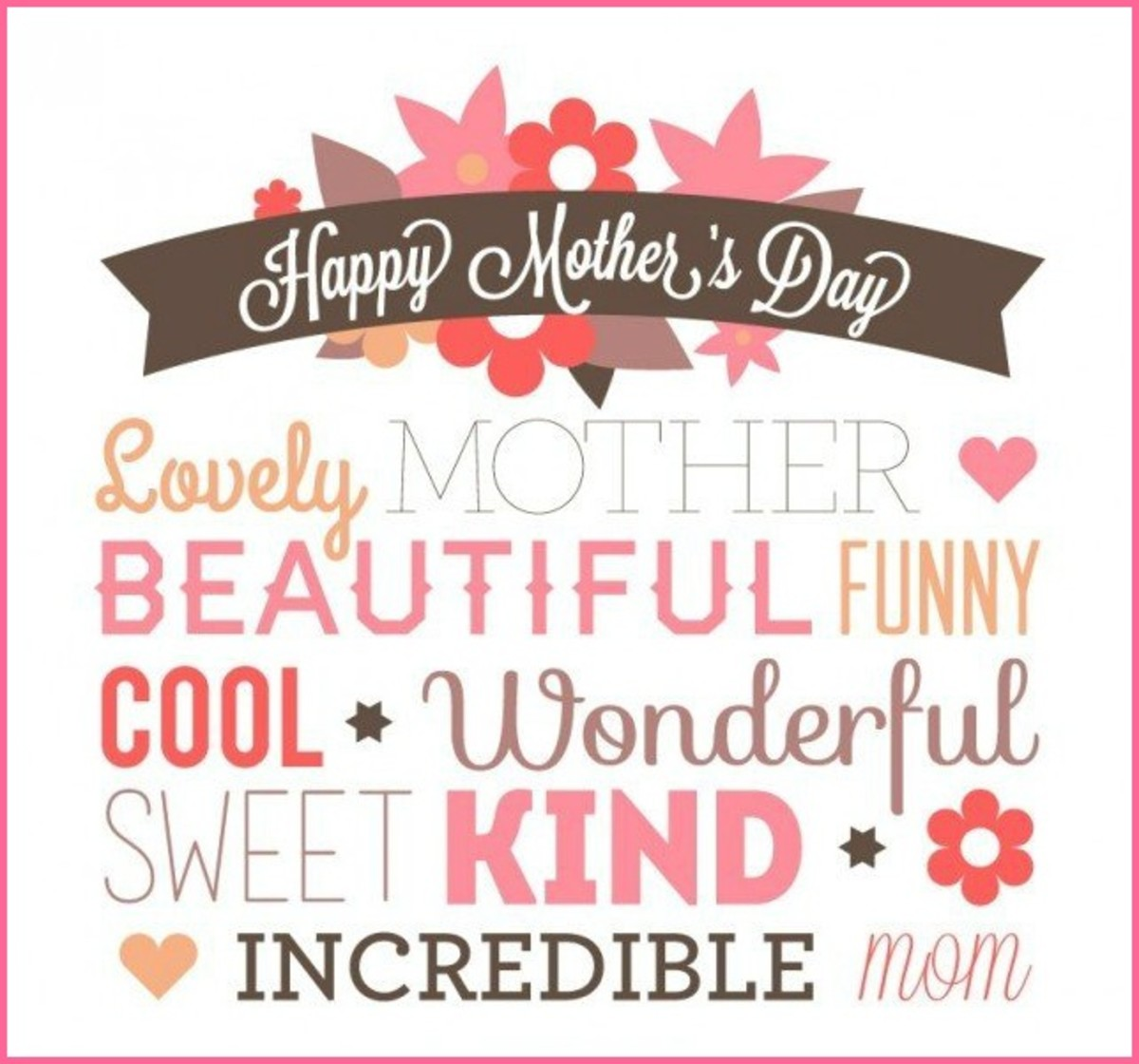 Mother's Day Picture with Adjectives for Mother