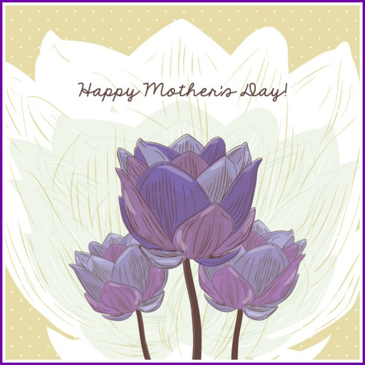 Mother's Day Picture with Purple Tulips