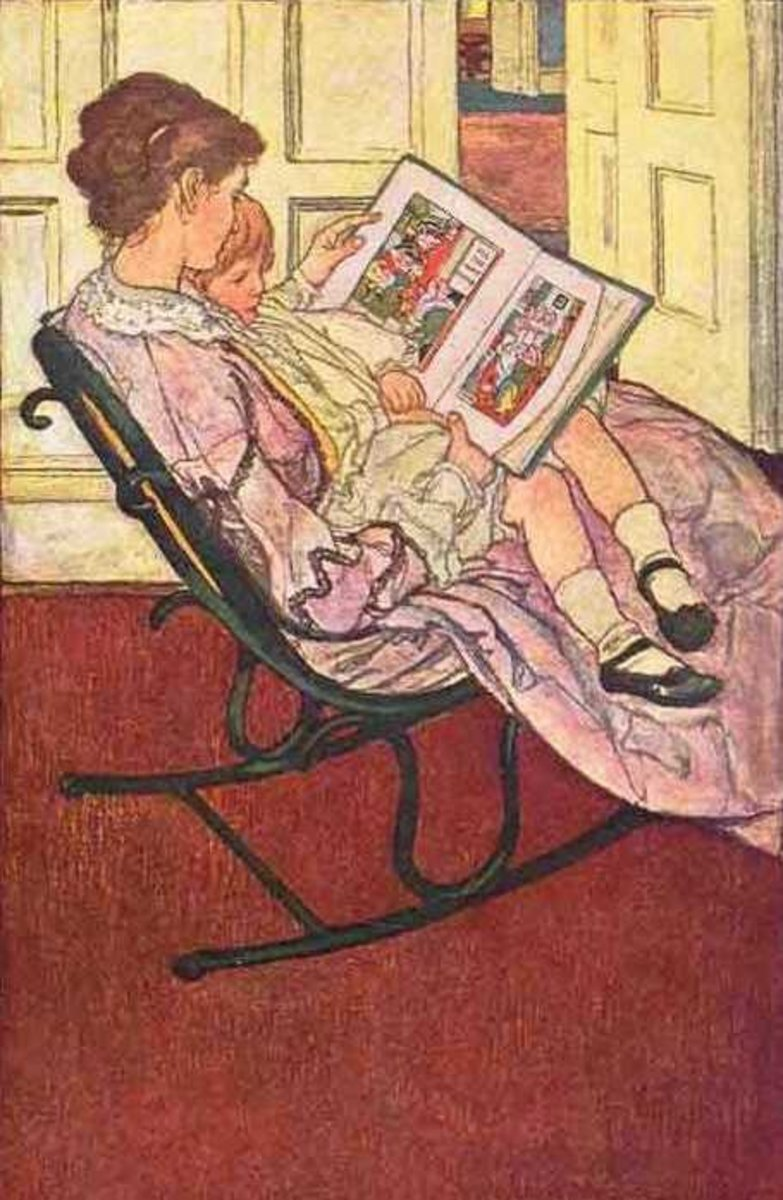 Picture of Mother Reading a Storybook to Child