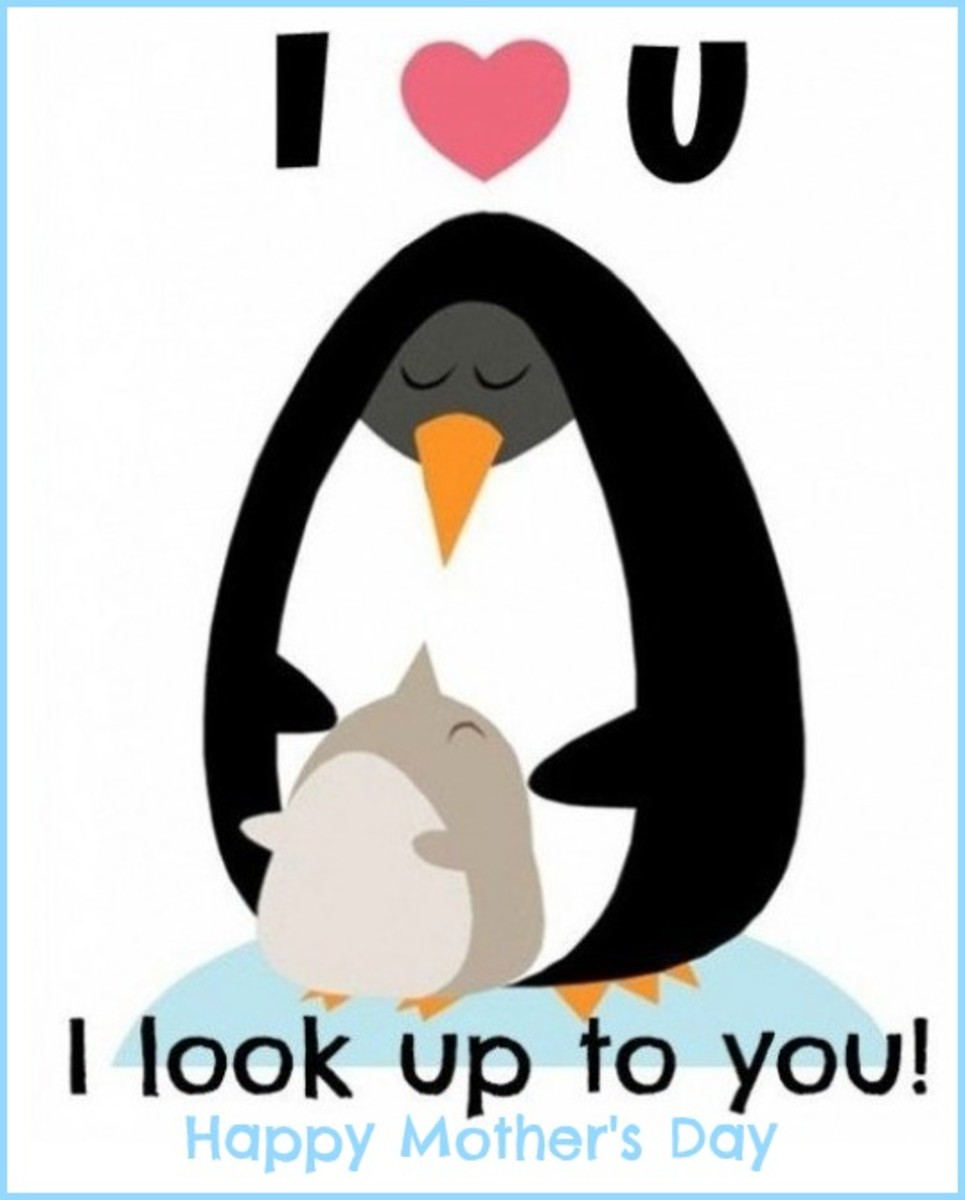 Mother's Day Card with Penguins and Saying