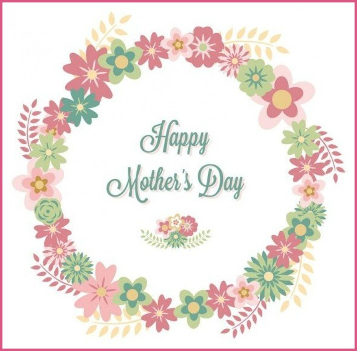 Happy Mother's Day Wreath of Flowers