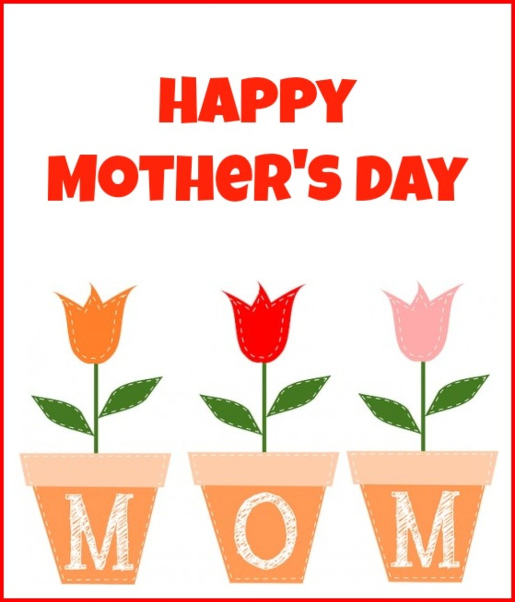 Happy Mother's Day Picture with Tulips in Pots