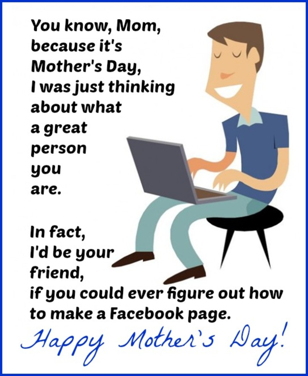 Funny Mother's Day Card about Mom Using Facebook