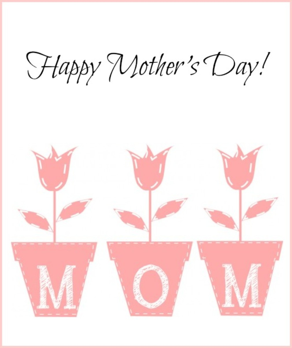Mother's Day Card with Pink Tulips
