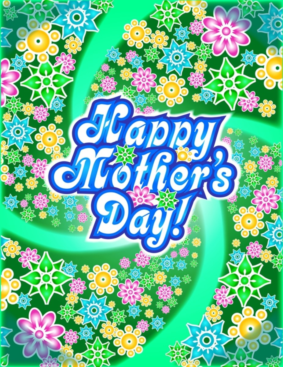Happy Mother's Day Picture in Green, Gold, Pink  and Blue