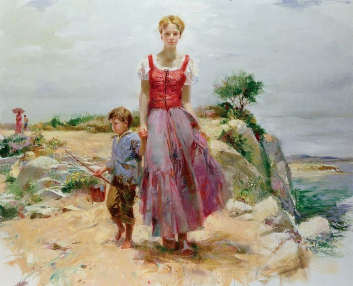 Picture of Mother Walking by the Sea while Holding Hands with Son