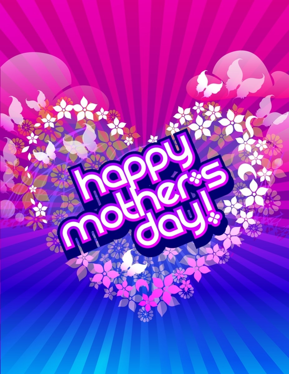 Happy Mother's Day Picture in Hot Pink and Electric Blue inside Heart of Flowers