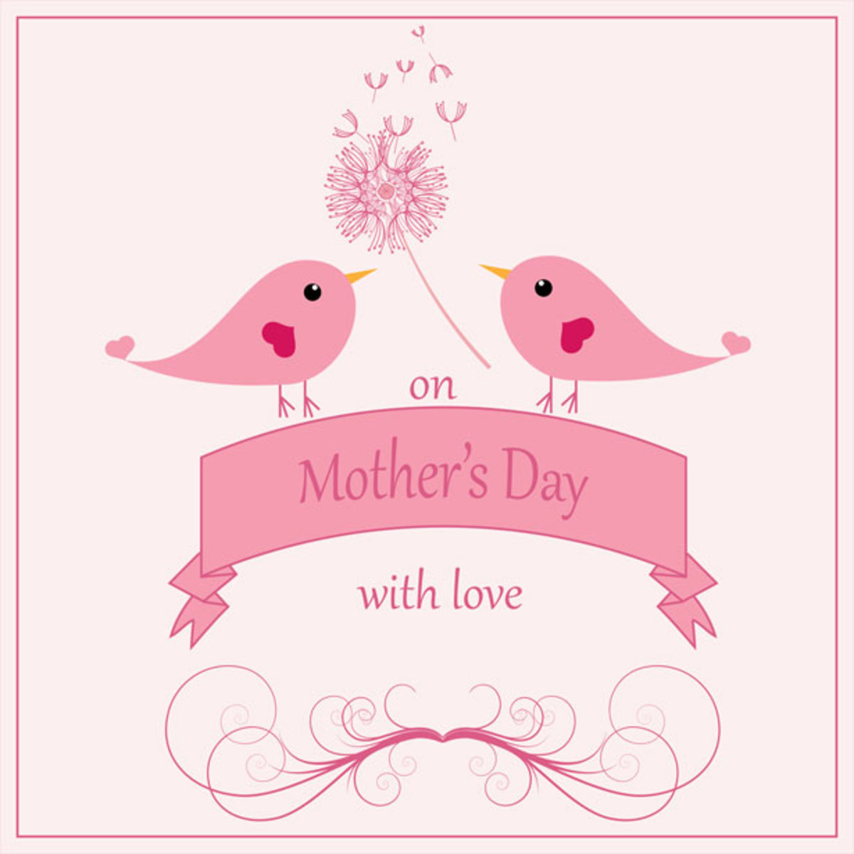 Mother's Day Picture with Pink Love Birds