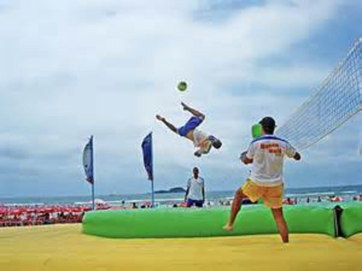 Backward Kick During Bossaball Match