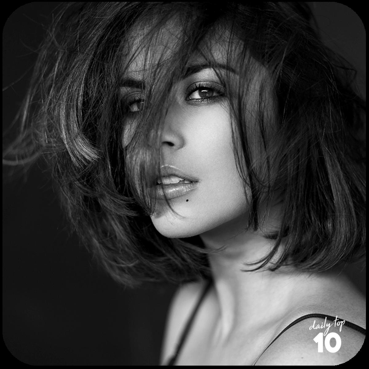 Eleni Zoe black and white photo shoot.