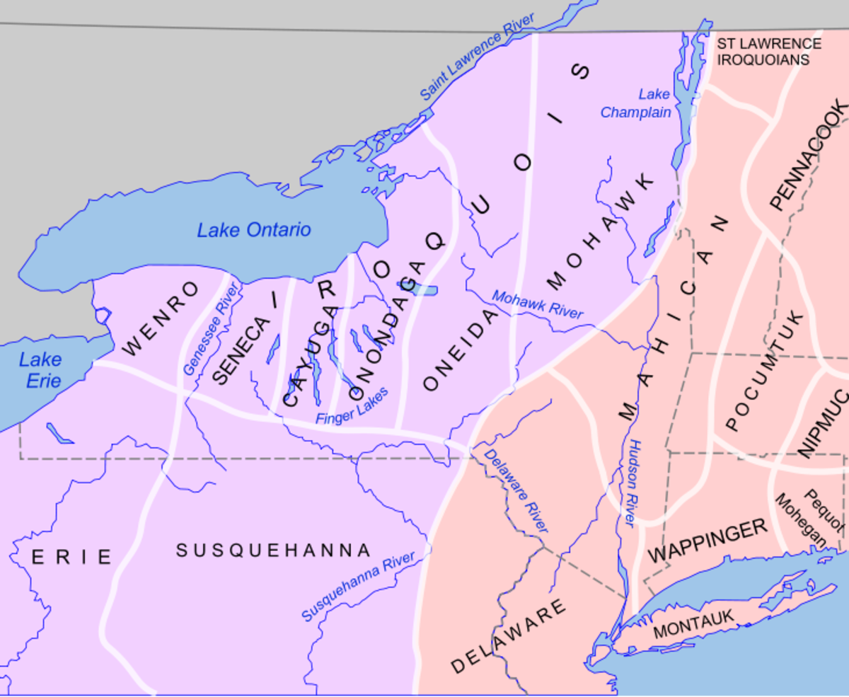 Map of the New York Indian nations before European arrival. Purple area shows people who spoke Iroquoian languages. Pink area shows people who spoke Algonquian languages.