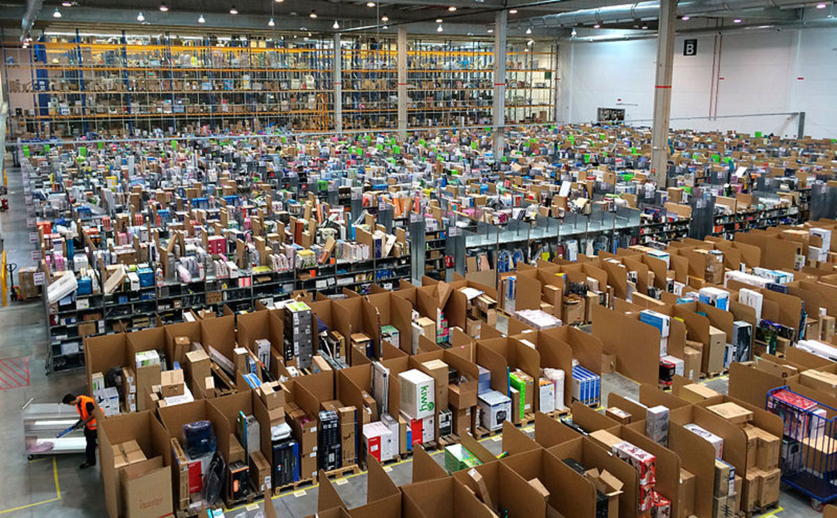 An Amazon.com fulfillment center in Madrid, Spain.