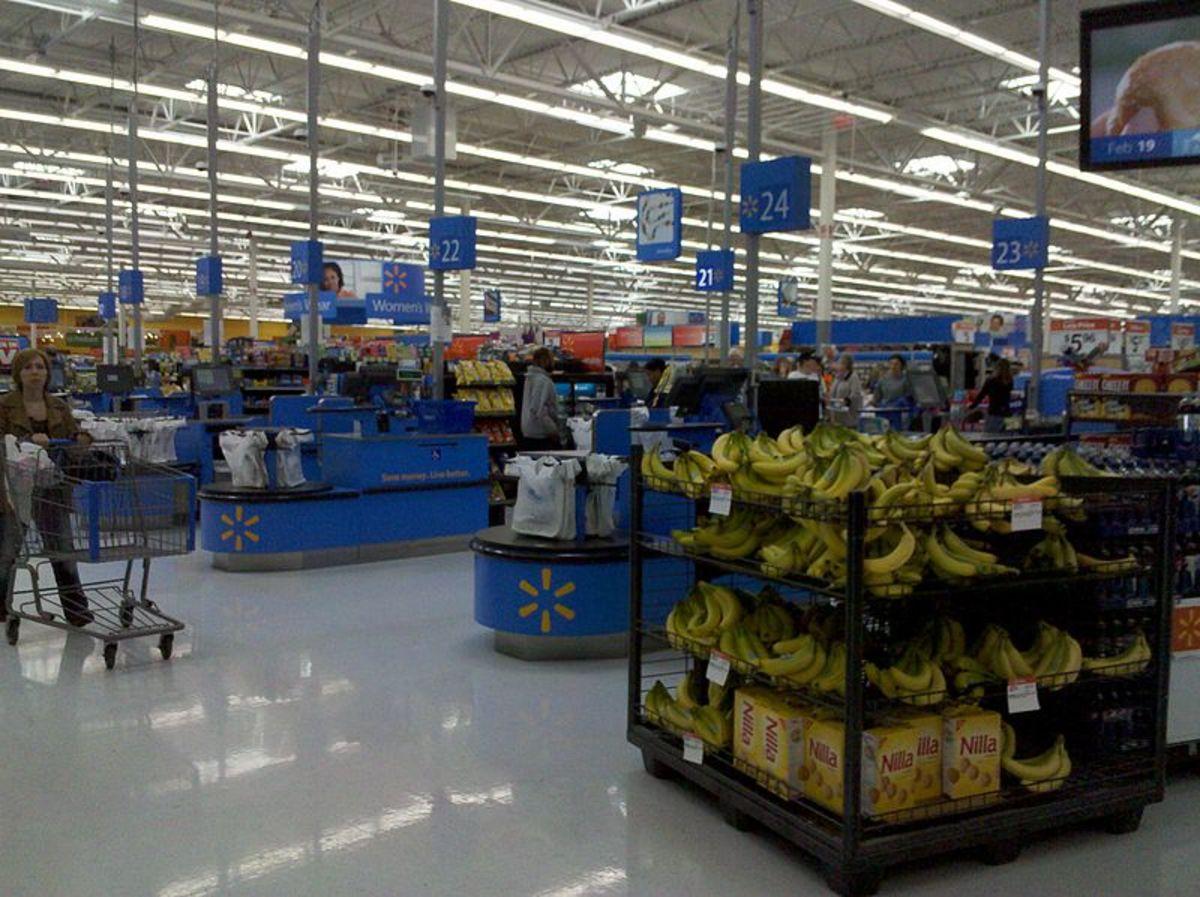 The checkout area of a Walmart store in Waynesboro, VA.