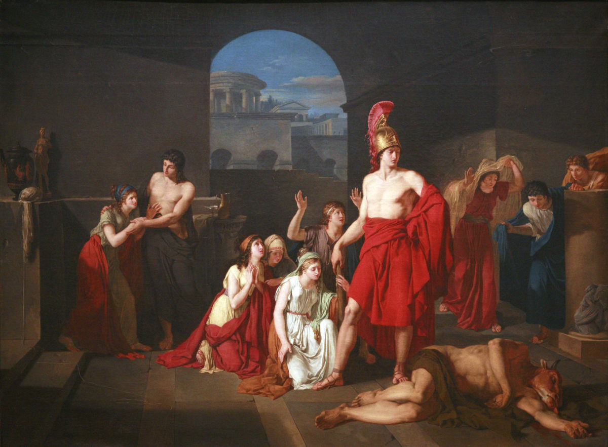 Children of Athens celebrate the victory of Theseus over the Minotaur