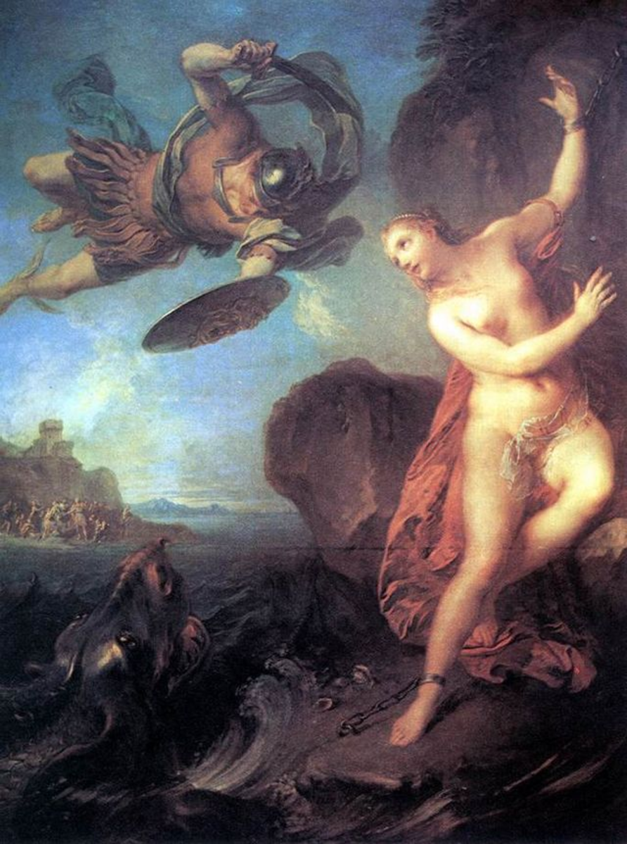 Perseus saves Andromeda from Cetus