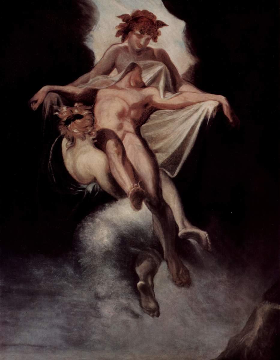 Twin gods, Hypnos (sleep) and Thanatos (death) carry Sarpedon to the Underworld