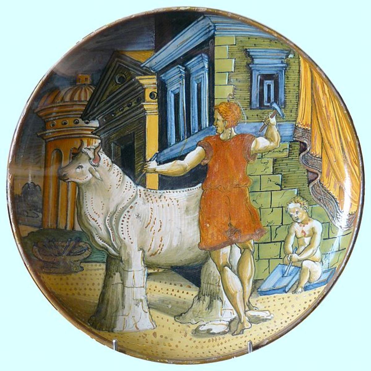 Daedalus assisting Pasiphae