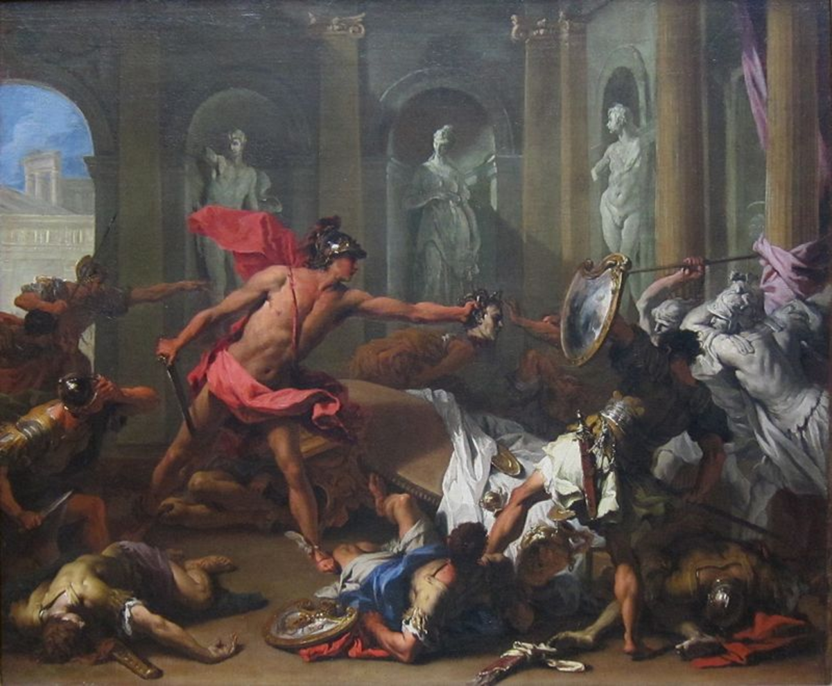 Perseus fighting Phineus for Andromeda