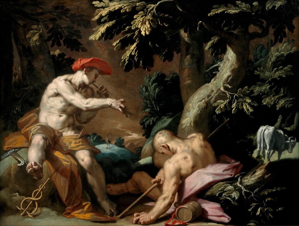 Hermes lulling Argus to sleep
