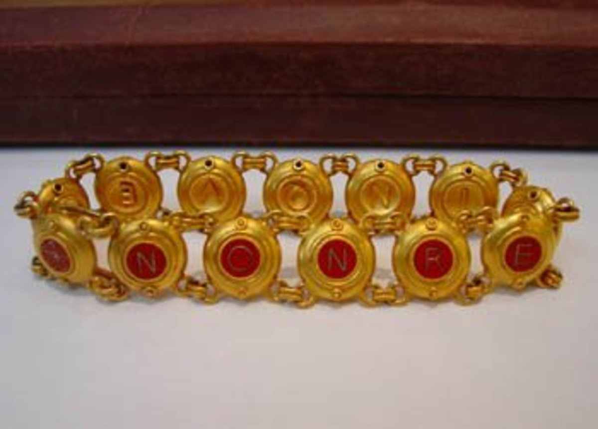 Famous Castellani Bracelet Gold Lettering Encased in Red Micro Mosaic called Tessarae