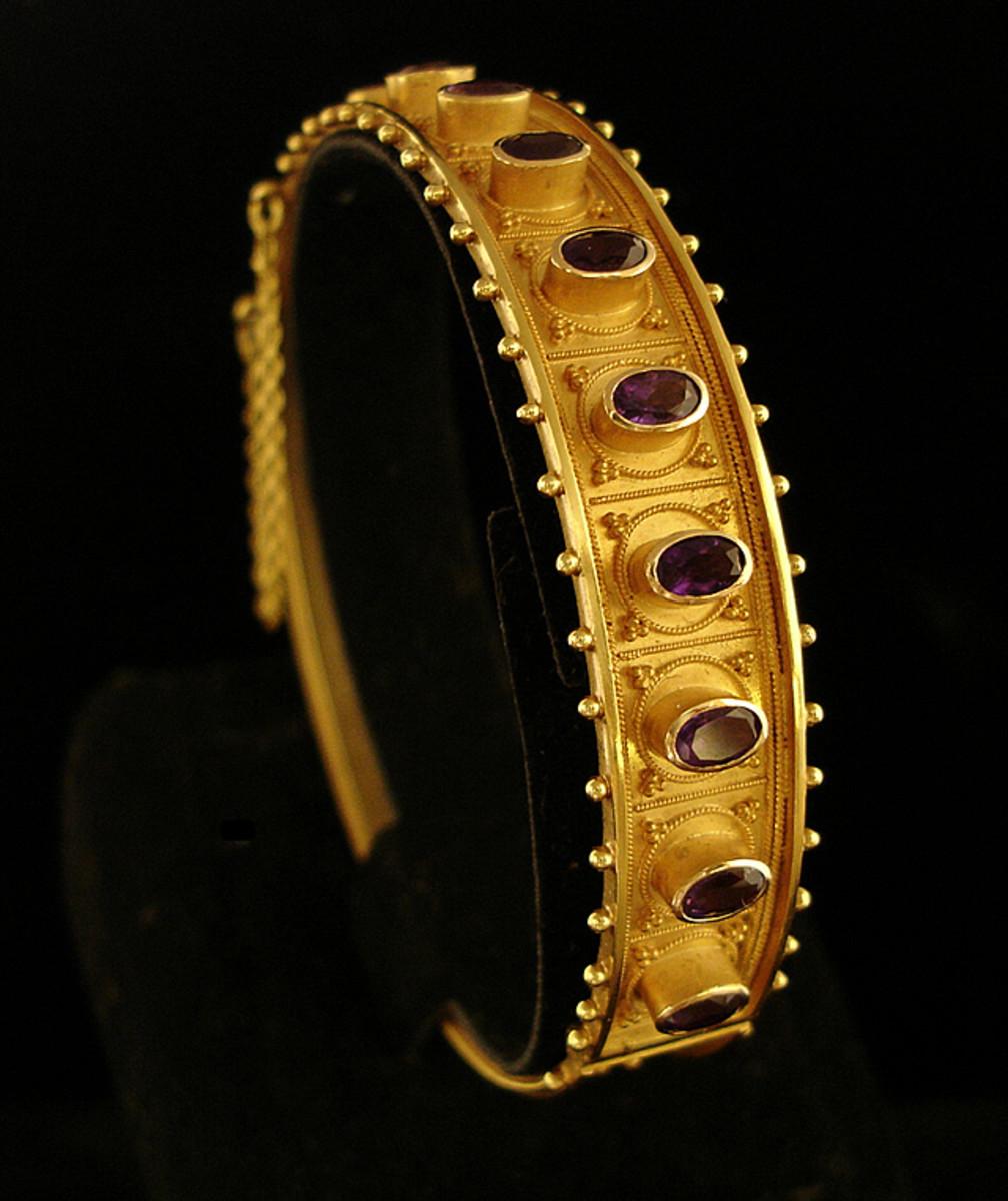 amethyst bracelet in 15 ct gold by Castellnai