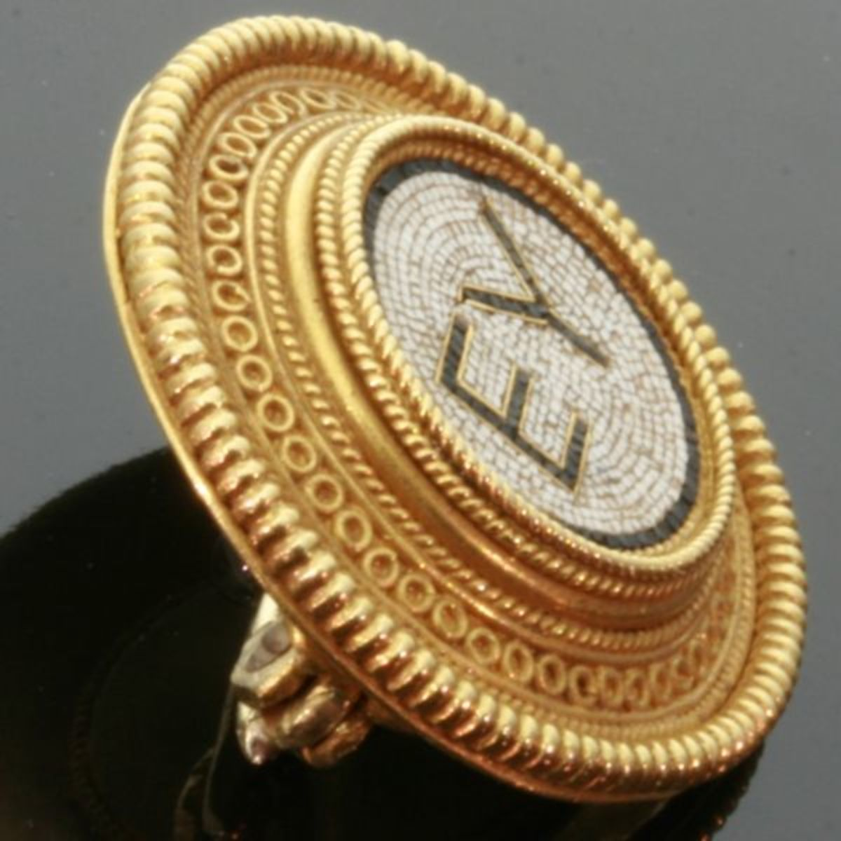 """micro mosiac jewelry by Castellani  1870 and 1880 in, what is called, the Castellani's """"Periodo Moderno"""", a period in which Castellani's master goldsmith and designer Michelangelo Caetani, was strongly focussed on designing micro mosaic jewelry with"""