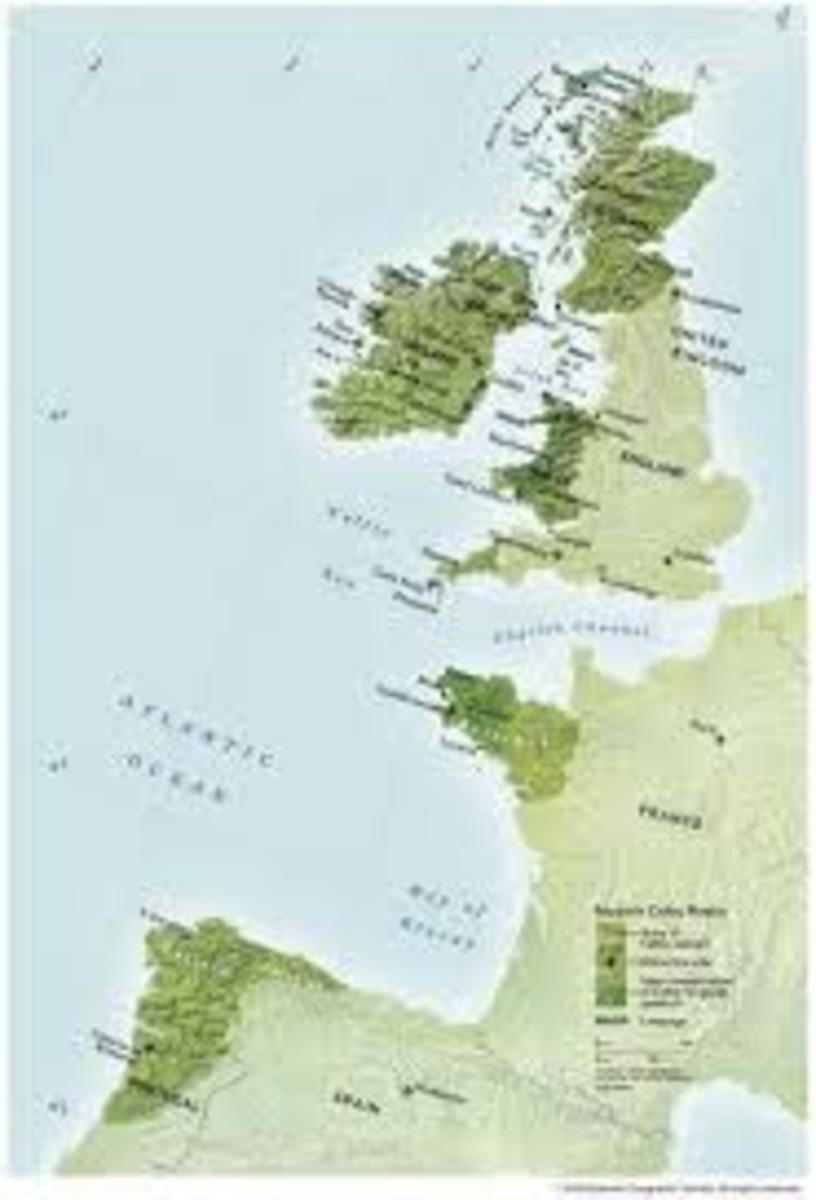 Celtic map showing the migration of the Iberians to Ireland, Scotland and Wales and the Celts to Galicia in Spain.