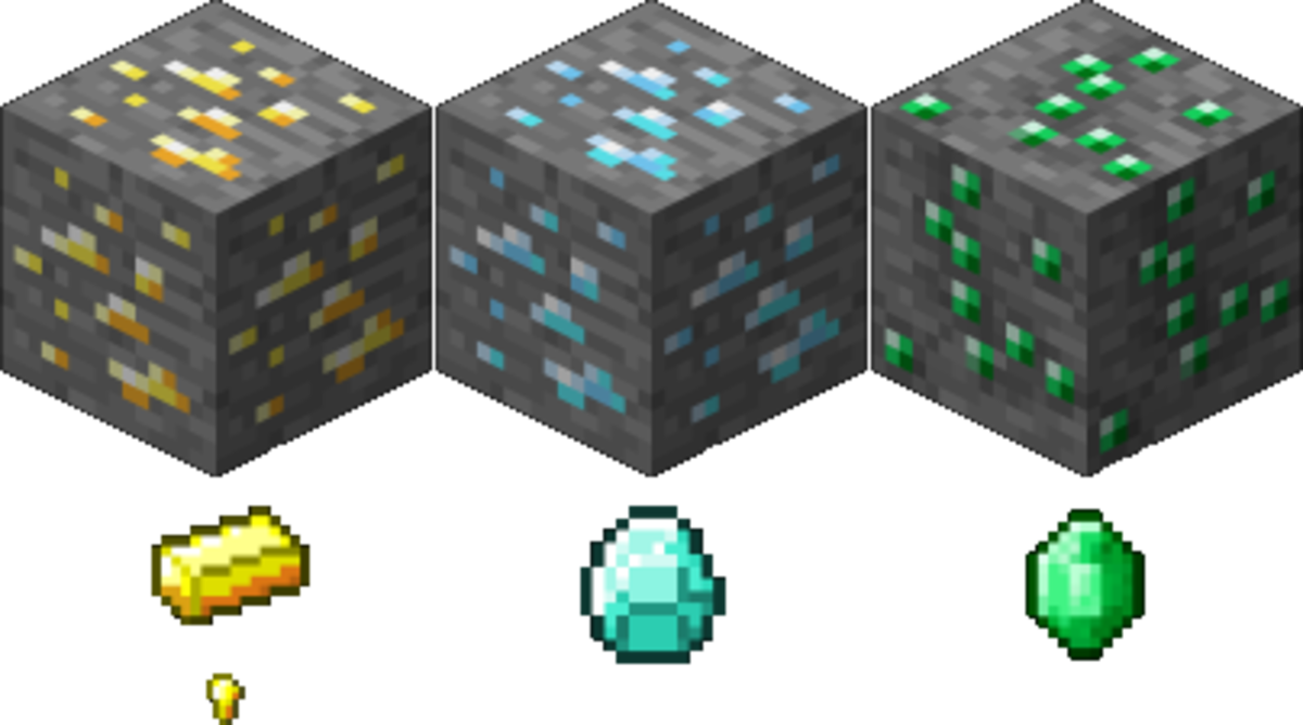 Gold (ore, ingot, and nugget); Diamond (ore and gem); Emerald (ore and gem)
