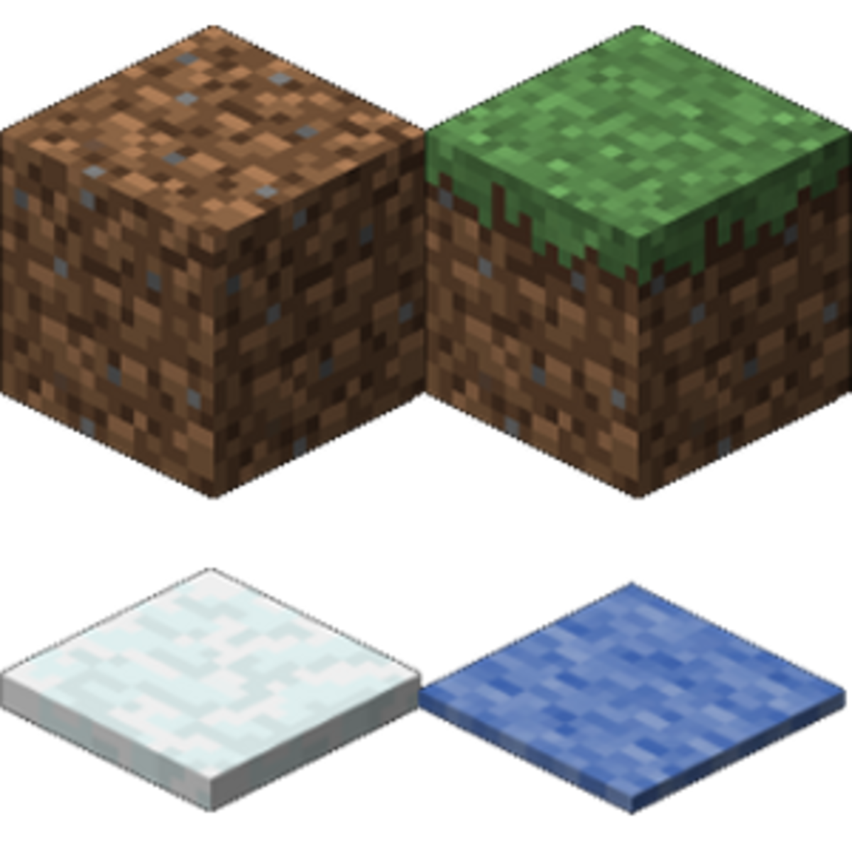 Dirt Block, Grass Block, Snow Cover, Rug Cover (in blue)