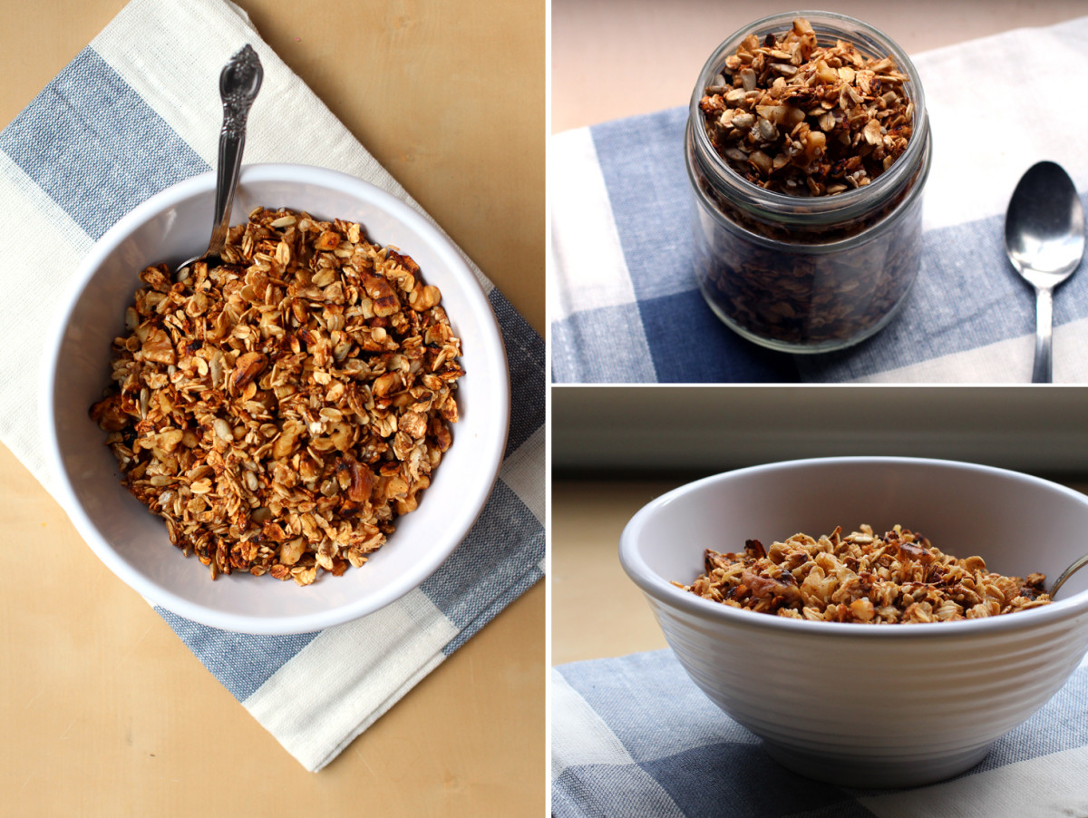 "The Pancake Princess describes her granola as: ""This perfectly-spiced, fantastically crunchy and addicting stovetop granola is the perfect way to keep your granola stocks full during the scorching months of summer."""