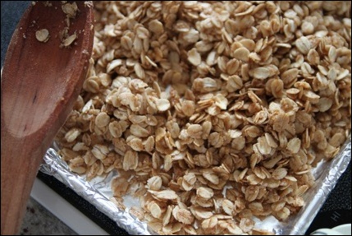 A very easy basic stovetop granola using 5 ingredients: oats, maple syrup, oil, cinnamon and salt.