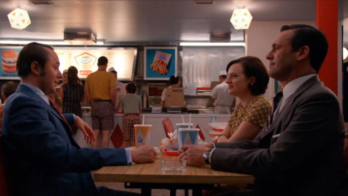 "Don, Peggy & Pete at Burger Chef in ""The Strategy"""