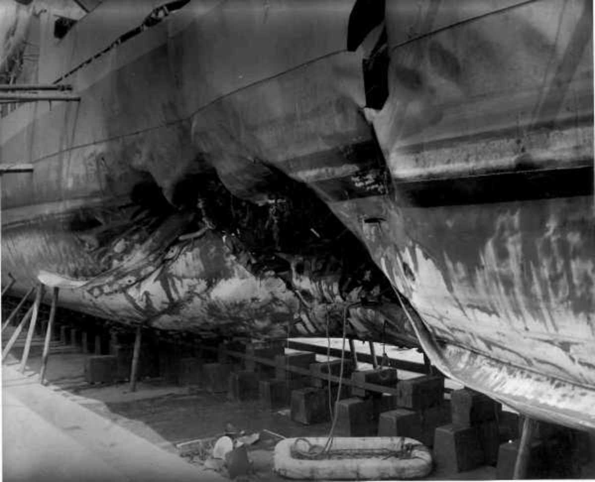 Further photo of damage to RMS Olympic
